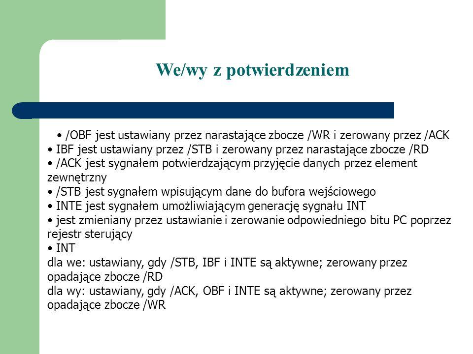 /OBF jest ustawiany przez narastające zbocze /WR i zerowany przez /ACK IBF jest ustawiany przez /STB i zerowany przez narastające zbocze /RD /ACK jest