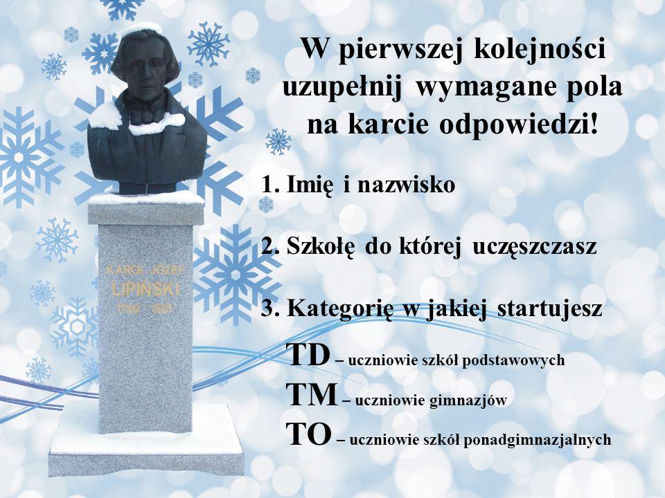 Pytanie 20 Na lata jakiej epoki w Polsce przypada życie i twórczość Karola Lipińskiego.