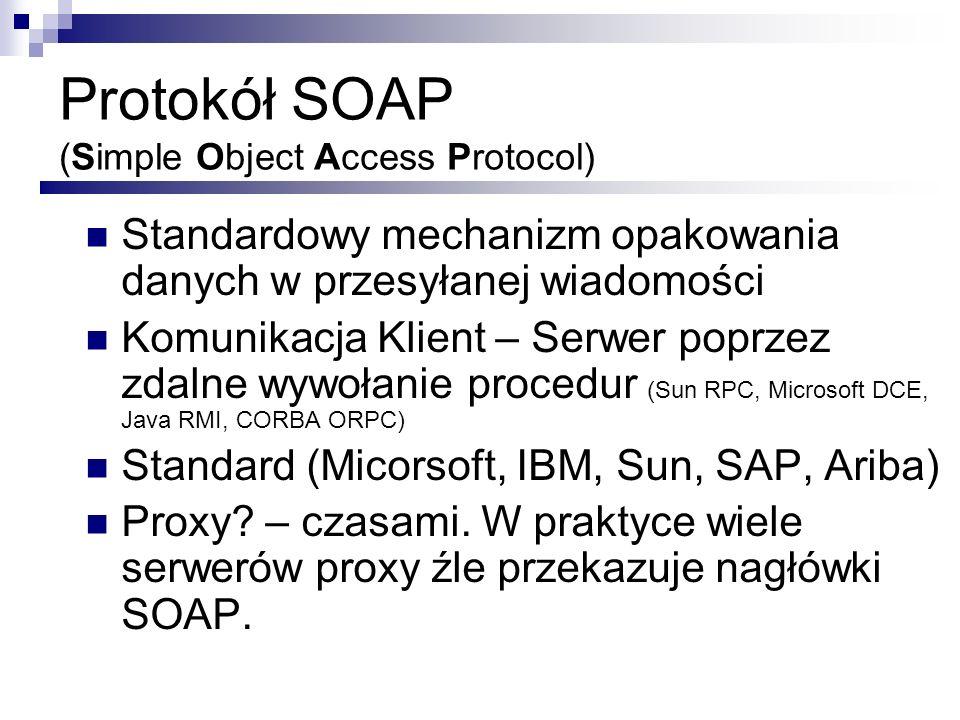 Zalety SOAP Nie jest ściśle związany z danym językiem programowania Nie jest ściśle związany z protokołem transportowym Tak naprawdę SOAP to XML – dowolny protokół który jest w stanie transportować tekst może działać z SOAP Korzysta z już ustalonych standardów.