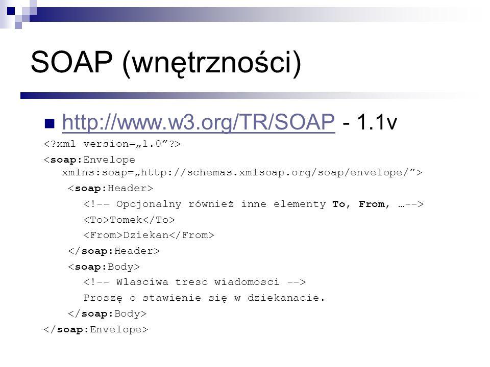 WSDL (Web Service Description Language) Dostarcza formalny opis WS.