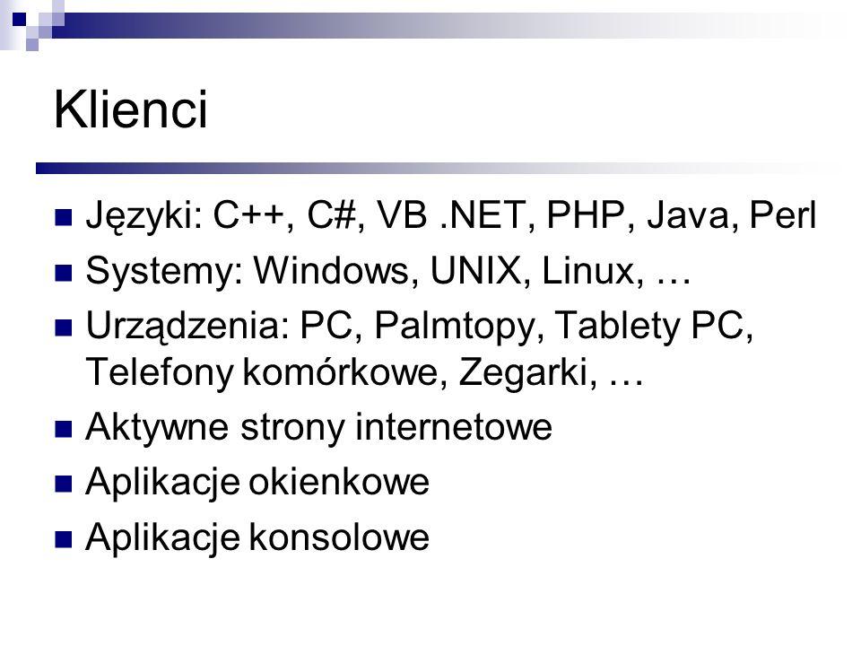 WS jak zacząć … Darmowe środowisko Web Matrix Publikowanie (przestrzeń nazewnicza) Popularne usługi XML w sieci Internet http://webapi.allegro.pl (komercyjne aplikacje) http://webapi.allegro.pl www.wemmethods.net http://api.google.com/GoogleSearch.wsdl WebApi key, ograniczenie 1000 wywołań na dzień kodowanie w UTF-8) PERL - SOAP::Lite wersja 0.52