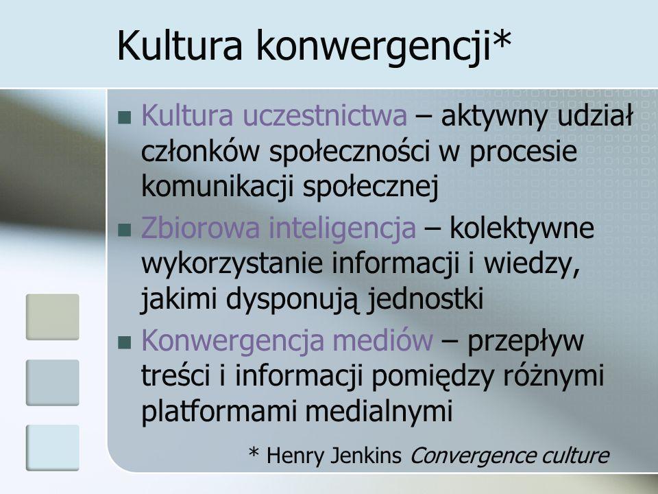 Kultura konwergencji* Kultura uczestnictwa – aktywny udział członków społeczności w procesie komunikacji społecznej Zbiorowa inteligencja – kolektywne