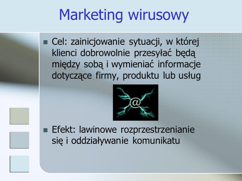 Marketing wirusowy Cel: zainicjowanie sytuacji, w której klienci dobrowolnie przesyłać będą między sobą i wymieniać informacje dotyczące firmy, produk