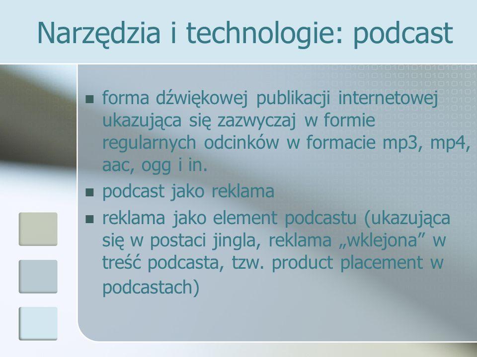Narzędzia i technologie: podcast forma dźwiękowej publikacji internetowej ukazująca się zazwyczaj w formie regularnych odcinków w formacie mp3, mp4, a