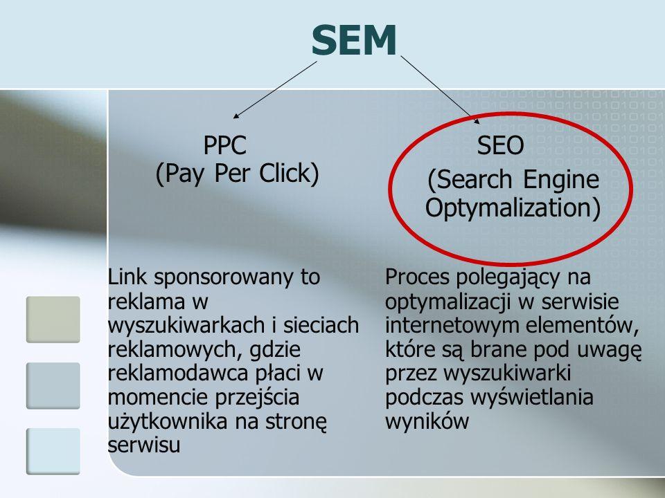 SEM PPC (Pay Per Click) Link sponsorowany to reklama w wyszukiwarkach i sieciach reklamowych, gdzie reklamodawca płaci w momencie przejścia użytkownik