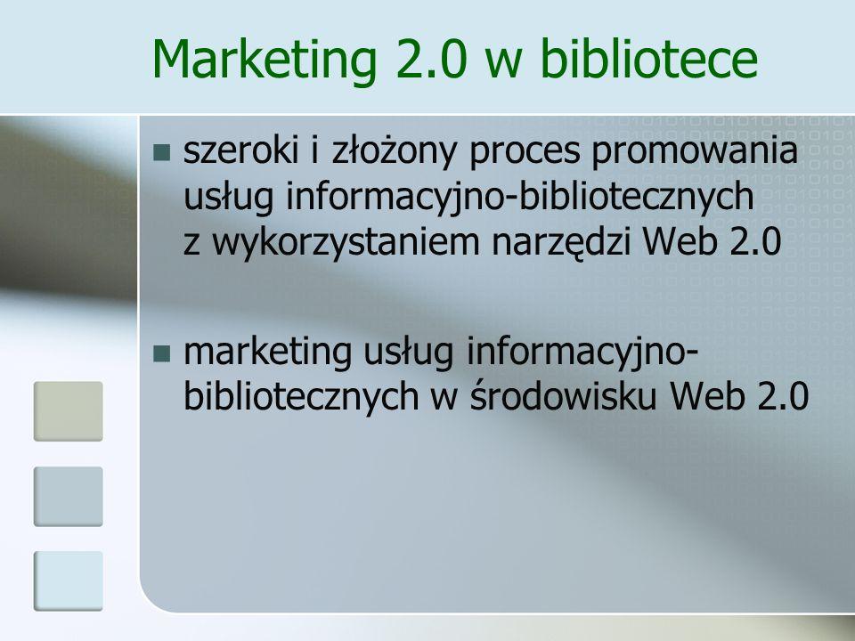Marketing 2.0 w bibliotece Biblioteka w serwisach społecznościowych Biblioblogi Biblioteczne forum dyskusyjne User generated marketing Wykorzystanie narzędzi i technologii: RSS, podcast, webeo Biblioteczny marketing wirusowy Biblioteczny permission marketing?