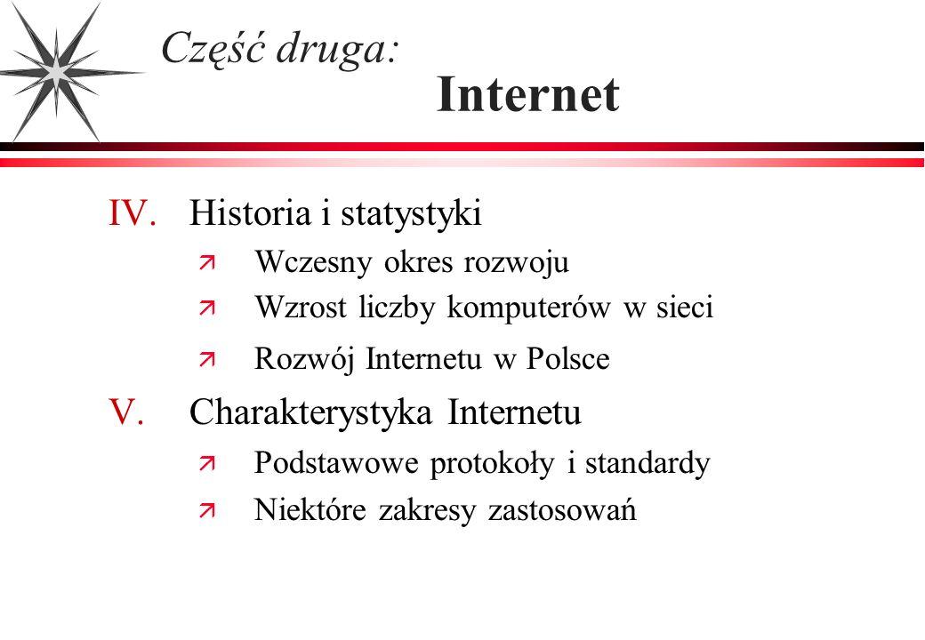 IV. Historia i statystyki Wczesny okres rozwoju Wzrost liczby komputerów w sieci Rozwój Internetu w Polsce V. Charakterystyka Internetu Podstawowe pro