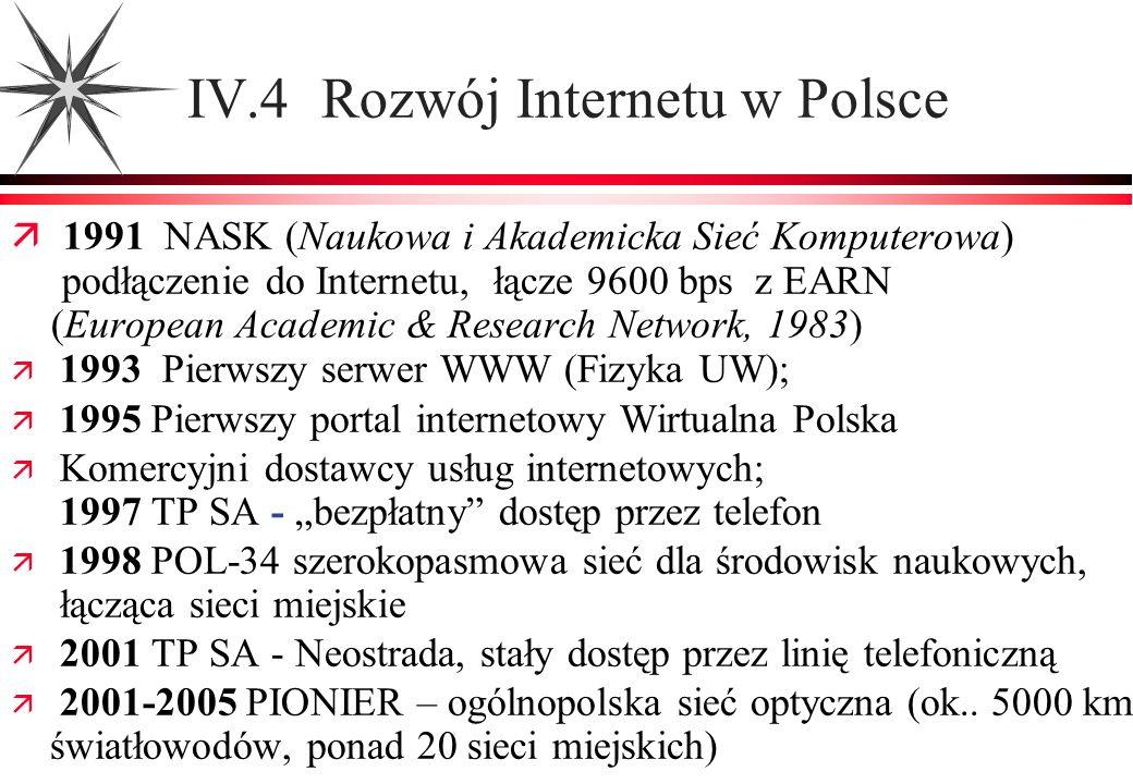 IV.4 Rozwój Internetu w Polsce 1991 NASK (Naukowa i Akademicka Sieć Komputerowa) podłączenie do Internetu, łącze 9600 bps z EARN (European Academic &