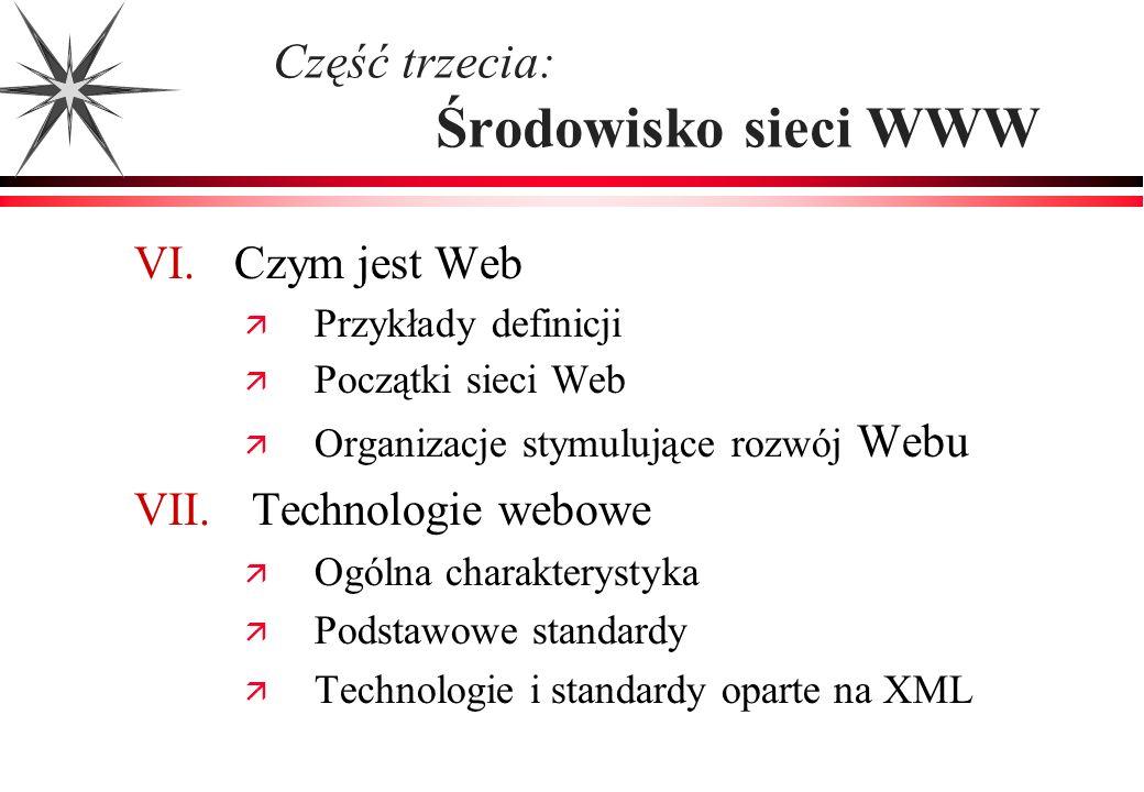 Część trzecia: Środowisko sieci WWW VI. Czym jest Web Przykłady definicji Początki sieci Web Organizacje stymulujące rozwój Webu VII. Technologie webo