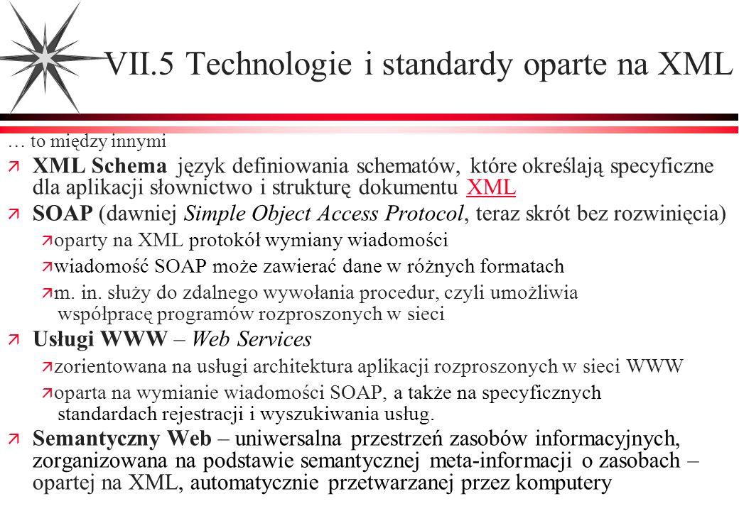 VII.5 Technologie i standardy oparte na XML … to między innymi XML Schema język definiowania schematów, które określają specyficzne dla aplikacji słow