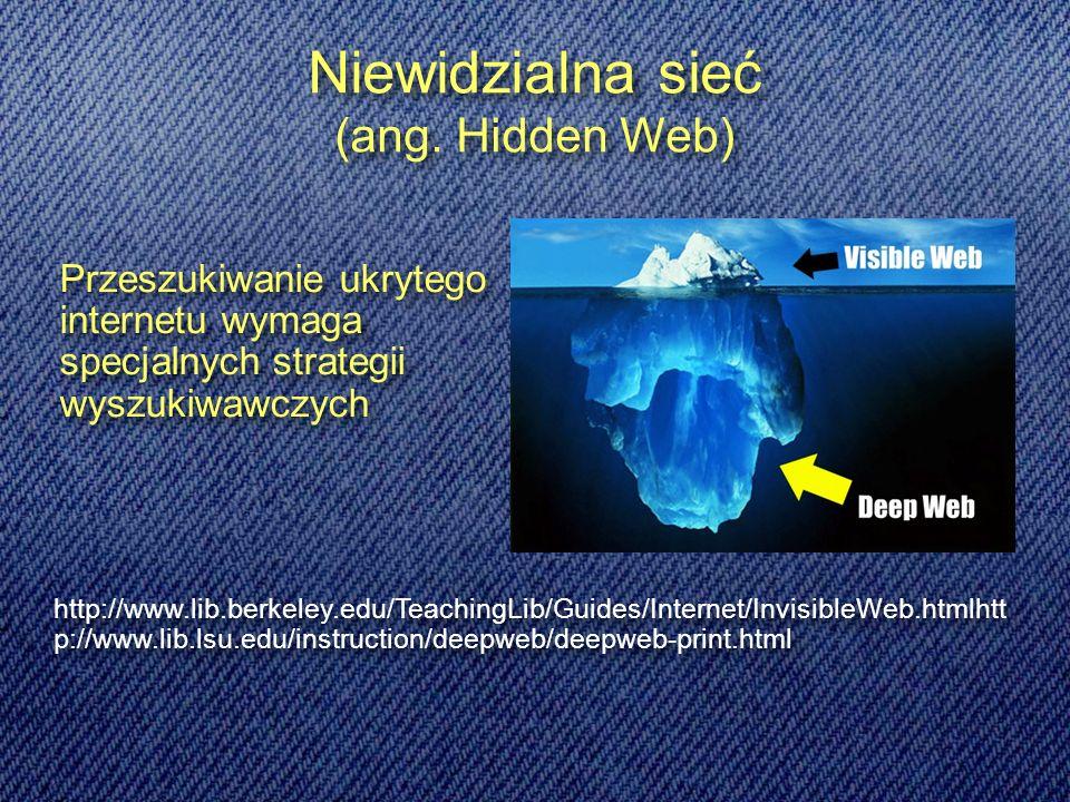 Przeszukiwanie ukrytego internetu wymaga specjalnych strategii wyszukiwawczych Niewidzialna sieć (ang.