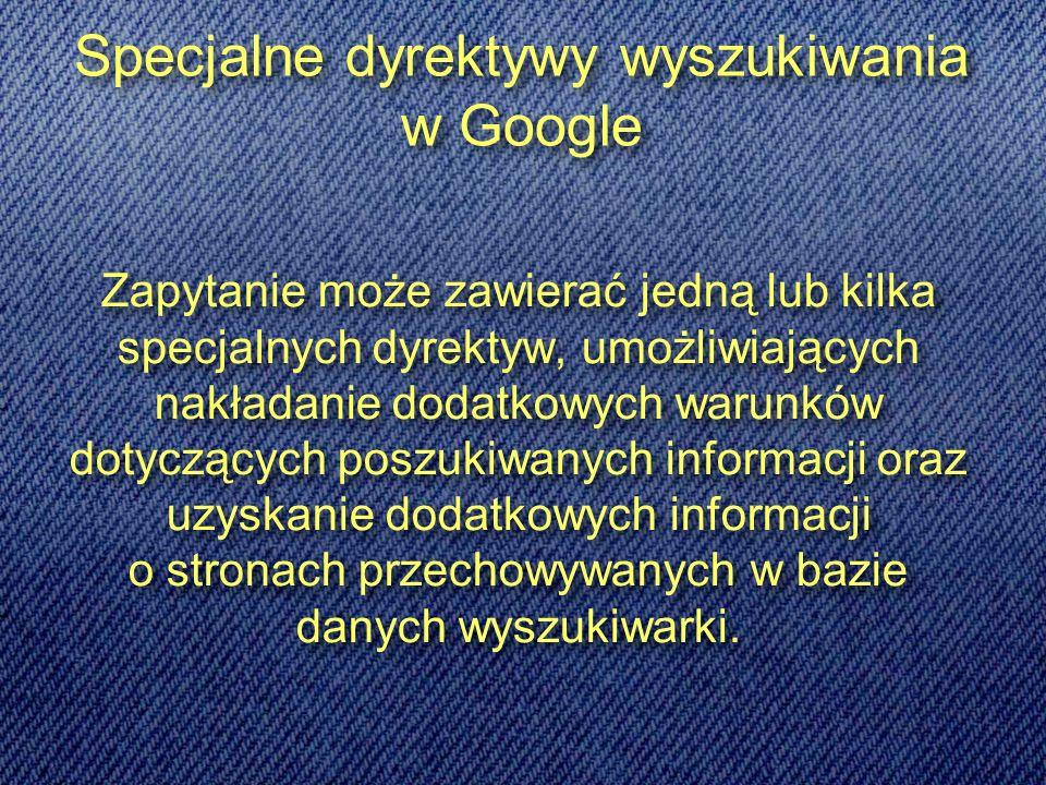 Zapytanie może zawierać jedną lub kilka specjalnych dyrektyw, umożliwiających nakładanie dodatkowych warunków dotyczących poszukiwanych informacji oraz uzyskanie dodatkowych informacji o stronach przechowywanych w bazie danych wyszukiwarki.