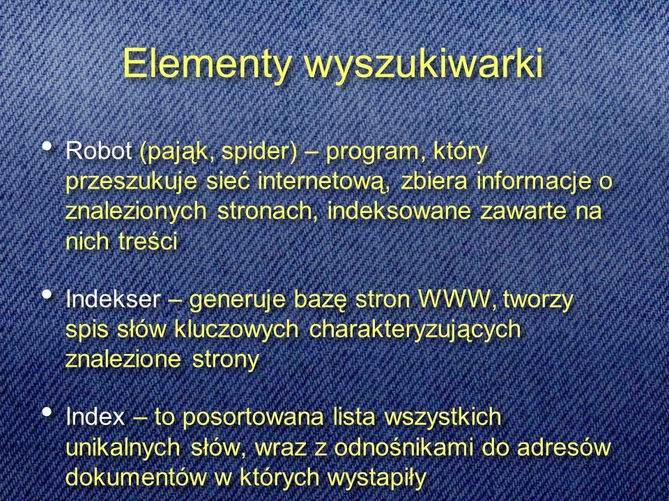 Przykłady innych wyszukiwarek: Anglojęzyczne wyszukiwarki naukowe: http://science.first-search.com http://www.scirus.comwww.search4science.com Polskojęzyczneczne serwisy naukowe http://science.eu.org http://www.wiw.pl Anglojęzyczne wyszukiwarki naukowe: http://science.first-search.com http://www.scirus.comwww.search4science.com Polskojęzyczneczne serwisy naukowe http://science.eu.org http://www.wiw.pl Wyszukiwarki plików: http://plikoskop.internauci.pl http://pliki.onet.pl Wyszukiwarki plików programów: http://icm.tucows.comhttp://download.chip.pl Wyszukiwarki plików: http://plikoskop.internauci.pl http://pliki.onet.pl Wyszukiwarki plików programów: http://icm.tucows.comhttp://download.chip.pl