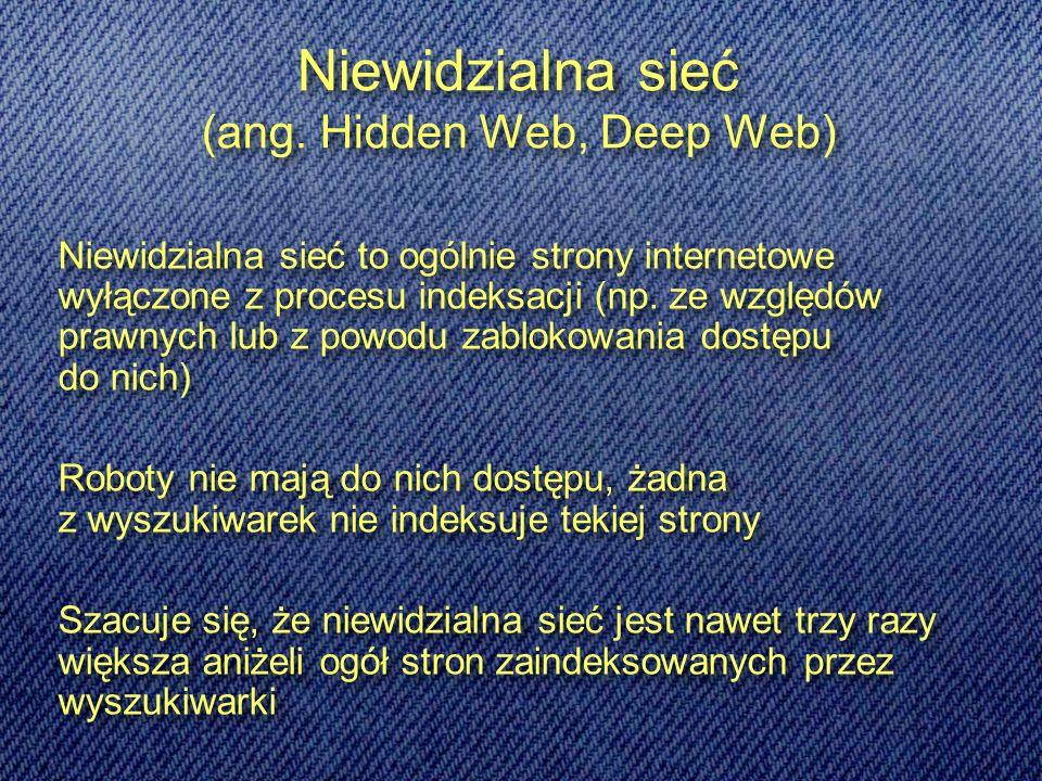 Metainformacja znaczniki META w nagłówku stronu zadaniem tego elementu jest instruowanie wyszukiwarek, jak mają indeksować stronę, przy pomocy kilku parametrów można określić, gdzie chcemy wpuścić robota i co może on indeksować: NOINDEX – zapobiega indeksowaniu strony przez wyszukiwarki; INDEX – pozwala robotom indeksować dokument; NOFOLLOW – zabrania robotom indeksowania witryn, do których prowadzą odnośniki z indeksowanej strony; FOLLOW – pozwala na indeksowanie wszystkich stron, do których wyszukiwarka dotrze przez odsyłacze z danej strony; NOIMAGEINDEX – zapobiega indeksowaniu grafiki na stronie WWW (tekst może być indeksowany); pozwala na umieszczenie krótkiego opisu merytorycznego dotyczącego zawartości strony, opis ten jest wyświetlany przy adresie strony w rankingu wyszukanych stron, powinien krótko informować użytkowników o treści witryny zadaniem tego elementu jest instruowanie wyszukiwarek, jak mają indeksować stronę, przy pomocy kilku parametrów można określić, gdzie chcemy wpuścić robota i co może on indeksować: NOINDEX – zapobiega indeksowaniu strony przez wyszukiwarki; INDEX – pozwala robotom indeksować dokument; NOFOLLOW – zabrania robotom indeksowania witryn, do których prowadzą odnośniki z indeksowanej strony; FOLLOW – pozwala na indeksowanie wszystkich stron, do których wyszukiwarka dotrze przez odsyłacze z danej strony; NOIMAGEINDEX – zapobiega indeksowaniu grafiki na stronie WWW (tekst może być indeksowany); pozwala na umieszczenie krótkiego opisu merytorycznego dotyczącego zawartości strony, opis ten jest wyświetlany przy adresie strony w rankingu wyszukanych stron, powinien krótko informować użytkowników o treści witryny