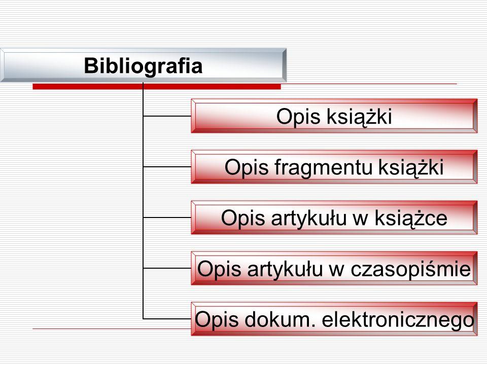 Bibliografia Opis książki Opis fragmentu książki Opis artykułu w książce Opis artykułu w czasopiśmie Opis dokum. elektronicznego