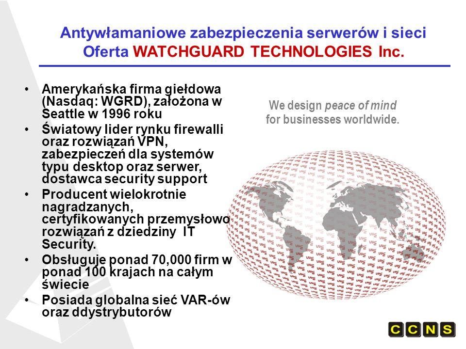 Antywłamaniowe zabezpieczenia serwerów i sieci Oferta WATCHGUARD TECHNOLOGIES Inc.