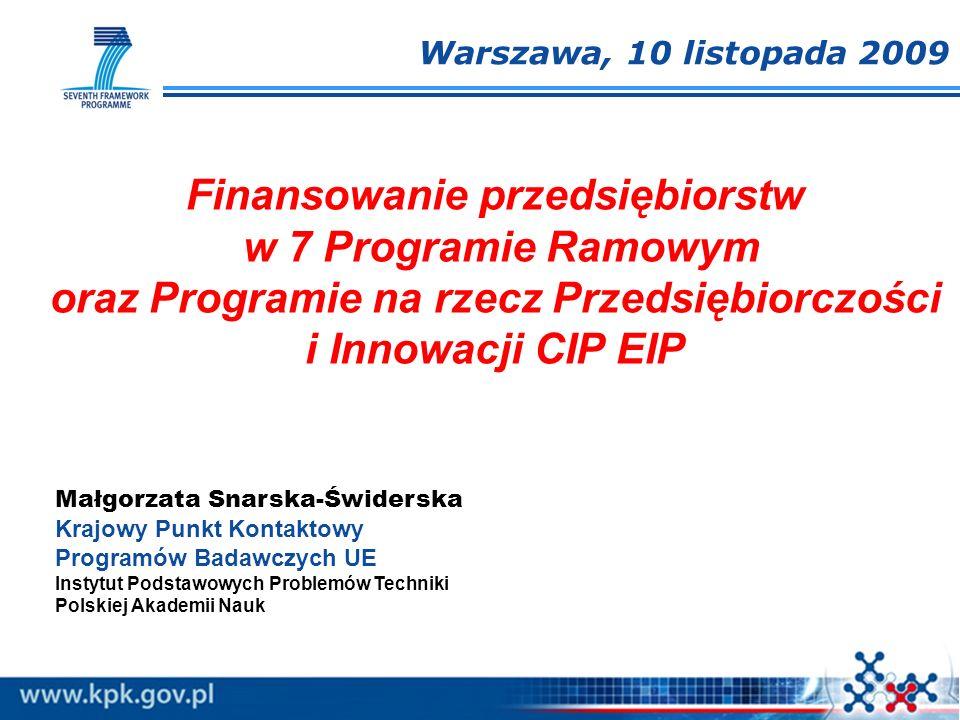 Małgorzata Snarska-Świderska Krajowy Punkt Kontaktowy Programów Badawczych UE Instytut Podstawowych Problemów Techniki Polskiej Akademii Nauk Finansow