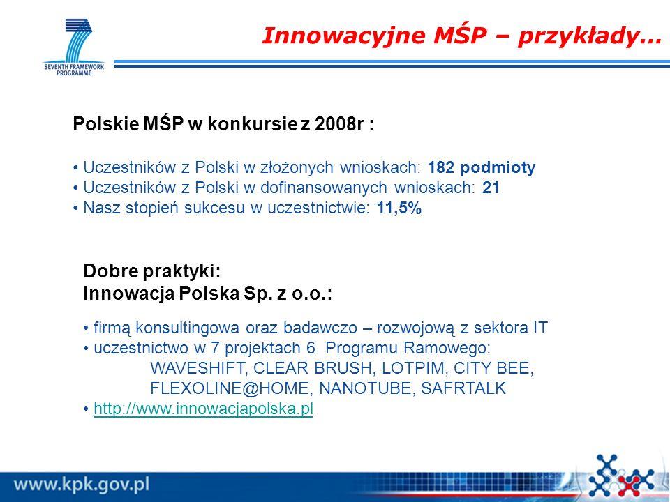 Innowacyjne MŚP – przykłady… Dobre praktyki: Innowacja Polska Sp. z o.o.: firmą konsultingowa oraz badawczo – rozwojową z sektora IT uczestnictwo w 7