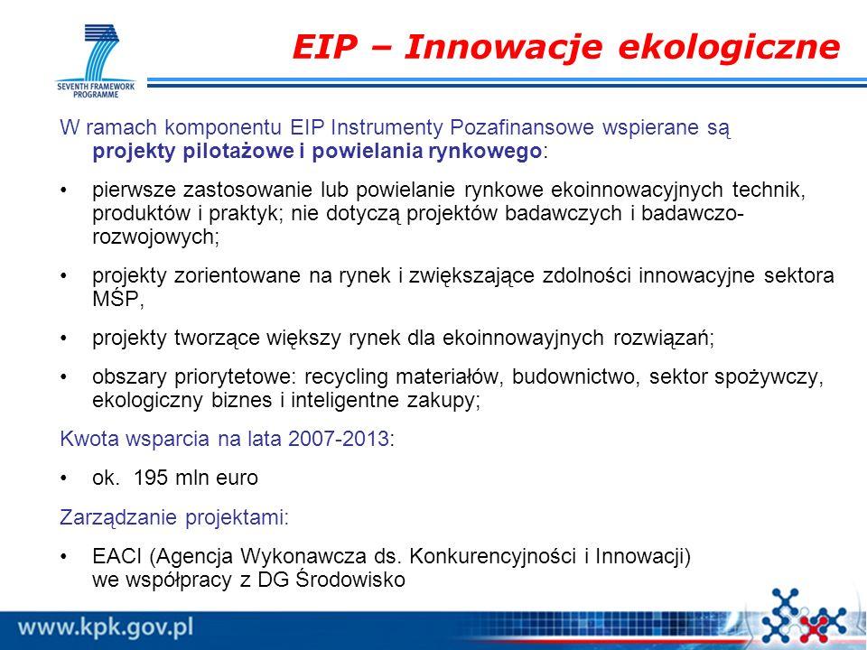 EIP – Innowacje ekologiczne W ramach komponentu EIP Instrumenty Pozafinansowe wspierane są projekty pilotażowe i powielania rynkowego: pierwsze zastos