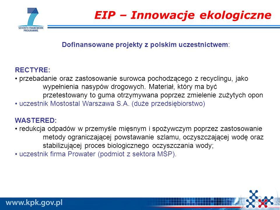 EIP – Innowacje ekologiczne Dofinansowane projekty z polskim uczestnictwem: RECTYRE: przebadanie oraz zastosowanie surowca pochodzącego z recyclingu,