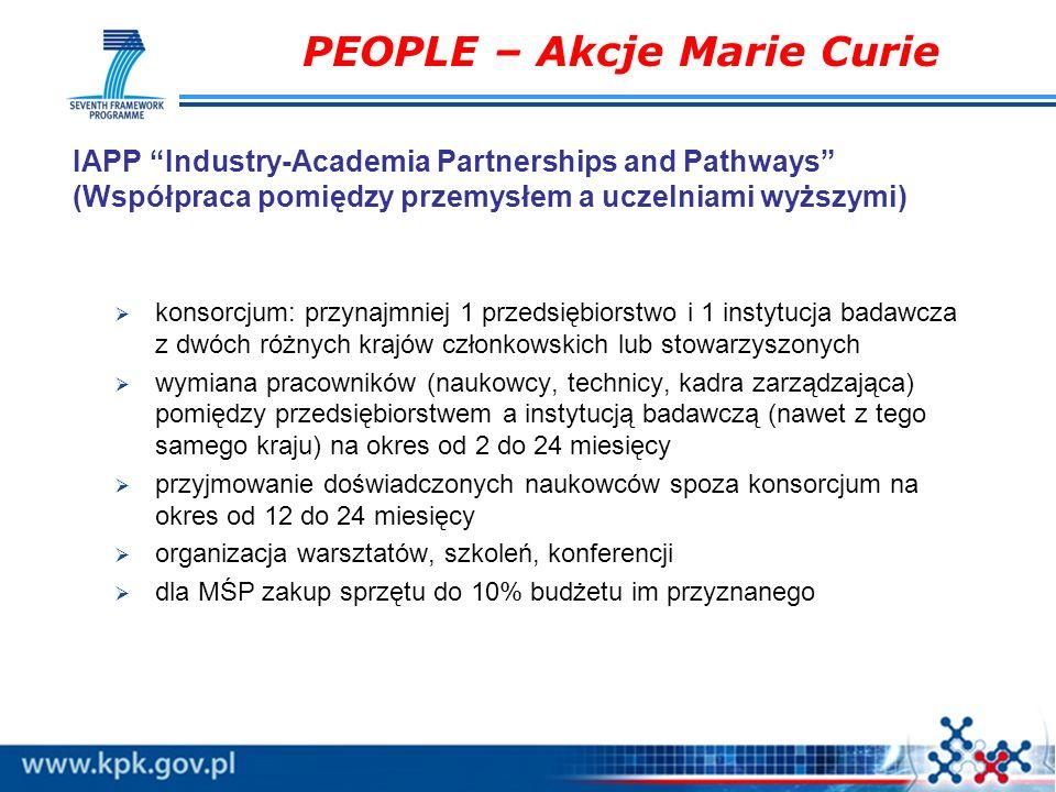 IAPP Industry-Academia Partnerships and Pathways (Współpraca pomiędzy przemysłem a uczelniami wyższymi) konsorcjum: przynajmniej 1 przedsiębiorstwo i