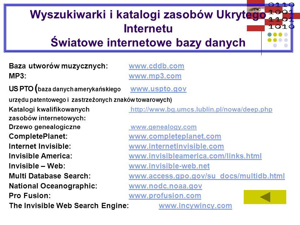 Wyszukiwarki i katalogi zasobów Ukrytego Internetu Światowe internetowe bazy danych Baza utworów muzycznych:www.cddb.comwww.cddb.com MP3:www.mp3.comww