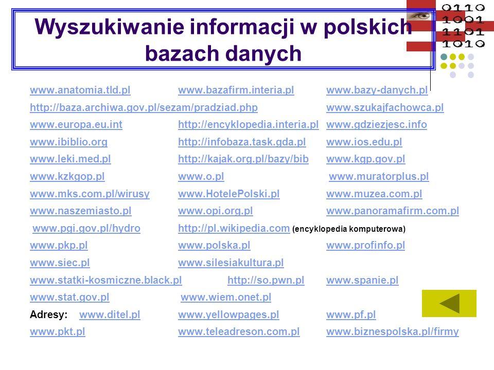 Wyszukiwanie informacji w polskich bazach danych www.anatomia.tld.plwww.anatomia.tld.pl www.bazafirm.interia.plwww.bazy-danych.plwww.bazafirm.interia.