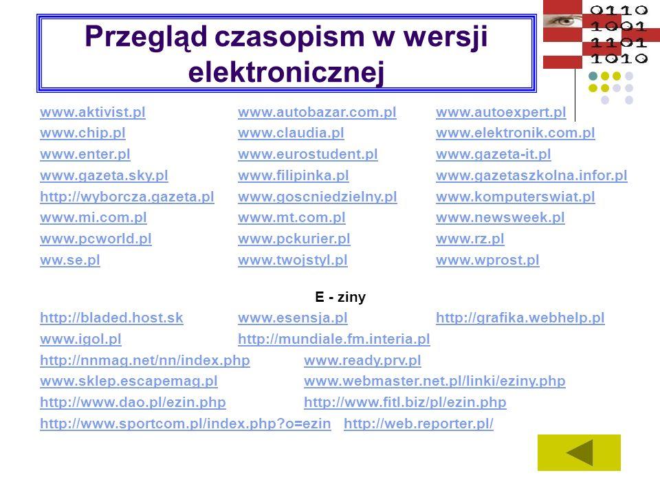 Przegląd czasopism w wersji elektronicznej www.aktivist.plwww.autobazar.com.plwww.autoexpert.pl www.chip.plwww.claudia.plwww.elektronik.com.pl www.ent