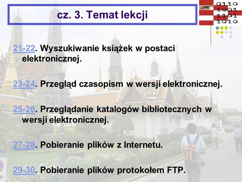Wyszukiwanie informacji * www.google.plwww.google.pl – 80 mld stron w X 06 www.euroseek.comwww.euroseek.com www.szukacz.pl www.szukacz.pl (wyszukiwanie fleksyjne) www.yahoo.com – 40 mld stron w X 06 www.yahoo.com www.gooru.plwww.gooru.pl www.fastsearch.comwww.fastsearch.com http://szukaj.wp.pl/kalkulator.html http://szukaj.interia.plwww.looksmart.com www.netoskop.plwww.netoskop.pl www.kanoodle.comwww.kanoodle.com http://netsprint.plhttp://netsprint.pl – 86 mln w X 06 www.overture.com www.overture.com www.searchengines.plwww.searchengines.pl www.scirus.comwww.scirus.com http://szukaj.onet.plwww.searchenginewatch.com www.wp.pl Multiwyszukiwarki www.emulti.plwww.emulti.pl http://www.razdwatrzy.com/http://www.razdwatrzy.com/ www.negative.plwww.negative.pl (pobierz wersję instalacyjną) www.bingoo.comwww.bingoo.com www.copernic.comwww.copernic.com www.negative.plwww.negative.pl www.dogpile.comwww.dogpile.com www.lexibot.comwww.metacrawler.com *Aktualne w X 2006 r.