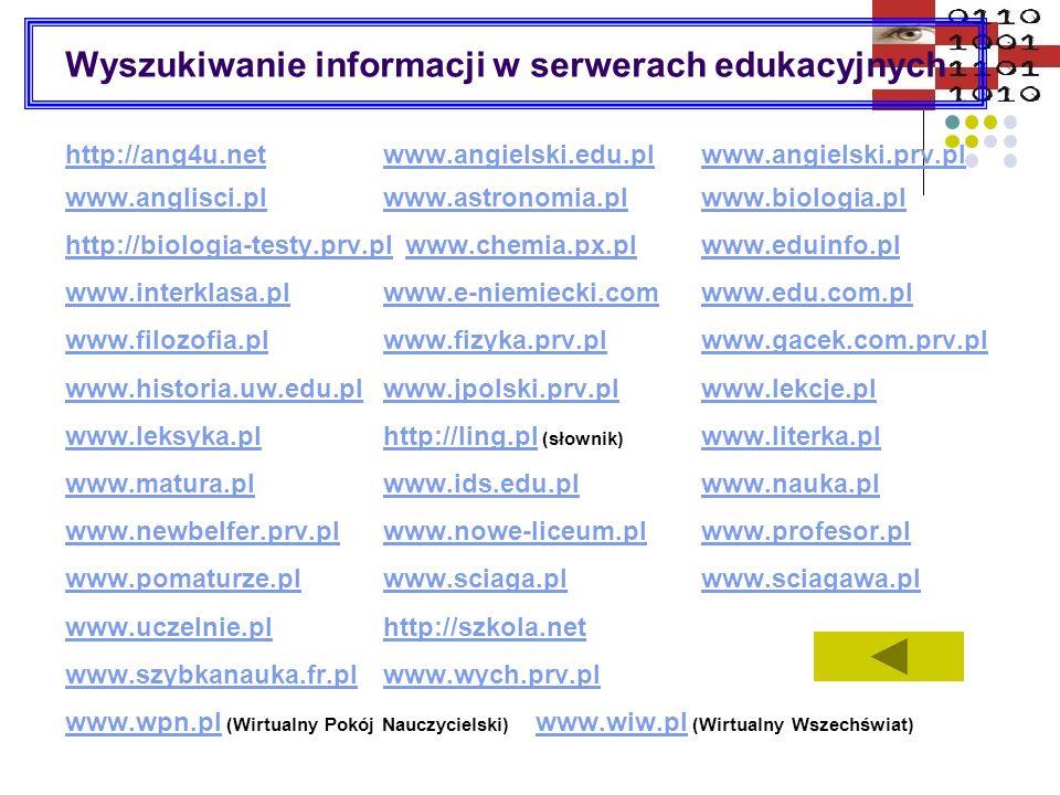 Wyszukaj informacje na określony temat www.google.plwww.google.pl http://images.google.com www.gooru.plhttp://images.google.comwww.gooru.pl http://pliki.onet.plhttp://pliki.onet.pl http://multimedia.lycos.com http://multimedia.alltheweb.comhttp://multimedia.lycos.comhttp://multimedia.alltheweb.com www.nuta.plwww.nuta.pl www.nutka.pl (teksty piosenek) http://photoseek.netwww.nutka.pl http://photoseek.net www.stopklatka.plwww.stopklatka.pl www.filmweb.pl http://napisy.org/ (serwisy filmowe)www.filmweb.pl http://napisy.org/ http://groups.google.com http://groups.google.com http://audio.search.yahoo.com (pliki audio)http://audio.search.yahoo.com Grafika darmowa na stronach: www.1clipart.comwww.321clipart.comwww.4yeo.com www.animationlibrary.comwww.animationlibrary.com www.artie.comwww.abcgiant.comwww.artie.comwww.abcgiant.com www.awangarda.sisco.plwww.awangarda.sisco.pl www.clipart-graphics.netwww.coolarchive.comwww.clipart-graphics.netwww.coolarchive.com http://earth.jsc.nasa.govhttp://earth.jsc.nasa.gov www.free-clipart.net www.freeimages.co.ukwww.free-clipart.netwww.freeimages.co.uk www.freefoto.comhttp://gallery.hd.orgwww.gifworld.com www.go.to/gifywww.go.to/gify www.ipts.m4u.plwww.webhelp.pl/cliparts/index.phpwww.ipts.m4u.plwww.webhelp.pl/cliparts/index.php www.webmaster.net.pl/grafikawww.wisarts.com/free/free3_pl.html www.webmaster-zone.net/index.php?wz=grafikawww.morguefile.com www.grafplanet.end.pl