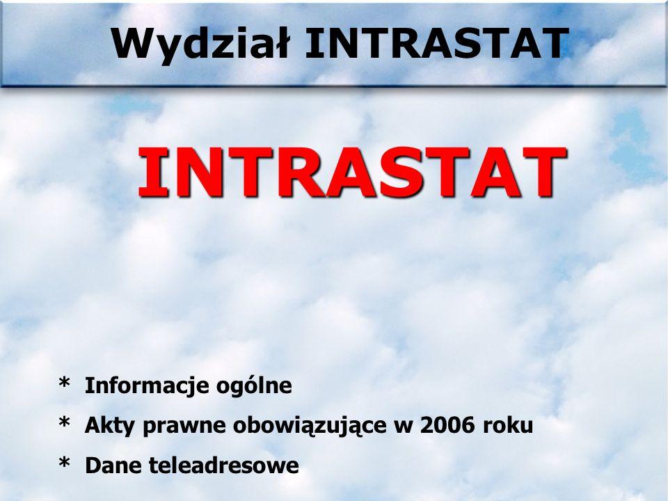 Wydział INTRASTATINTRASTAT * Informacje ogólne * Akty prawne obowiązujące w 2006 roku * Dane teleadresowe