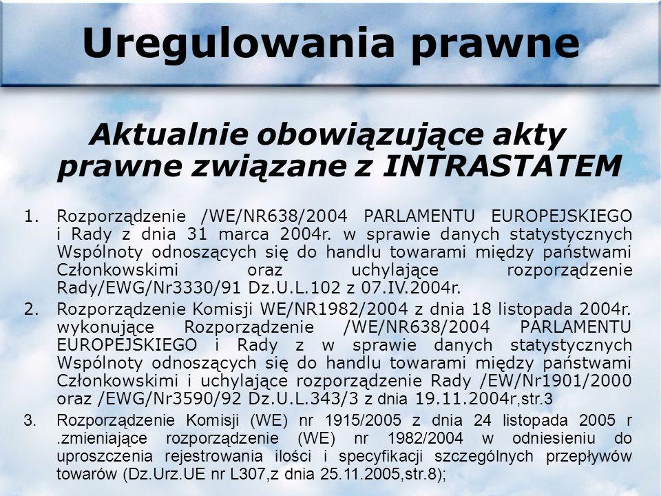 Uregulowania prawne Aktualnie obowiązujące akty prawne związane z INTRASTATEM 1.Rozporządzenie /WE/NR638/2004 PARLAMENTU EUROPEJSKIEGO i Rady z dnia 31 marca 2004r.