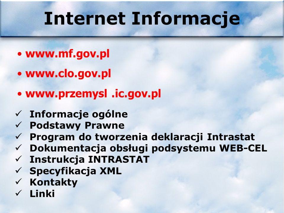 Internet Informacje www.mf.gov.pl www.clo.gov.pl www.przemysl.ic.gov.pl Informacje ogólne Podstawy Prawne Program do tworzenia deklaracji Intrastat Dokumentacja obsługi podsystemu WEB-CEL Instrukcja INTRASTAT Specyfikacja XML Kontakty Linki