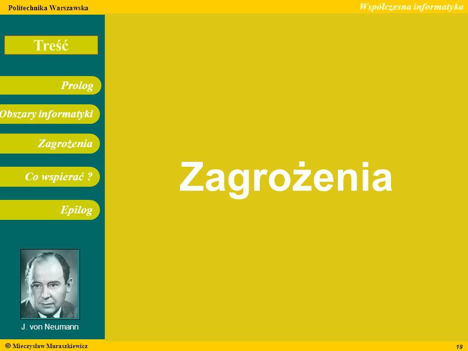 Treść Współczesna informatyka Obszary informatyki Prolog Zagrożenia Co wspierać ? Epilog Politechnika Warszawska Mieczysław Muraszkiewicz J. von Neuma