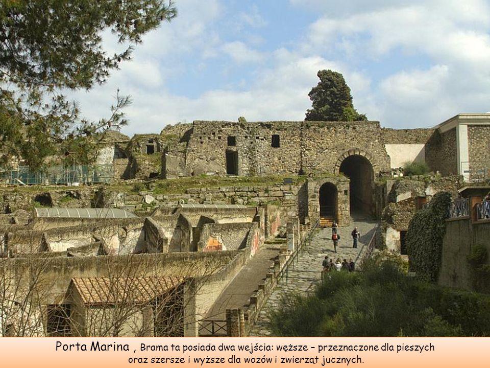 Zwiedzanie udostępnionego dla turystów terenu wykopalisk rozpoczyna się najczęściej od jednej z bram miejskich zwanej Bramą Morską (Porta Marina).