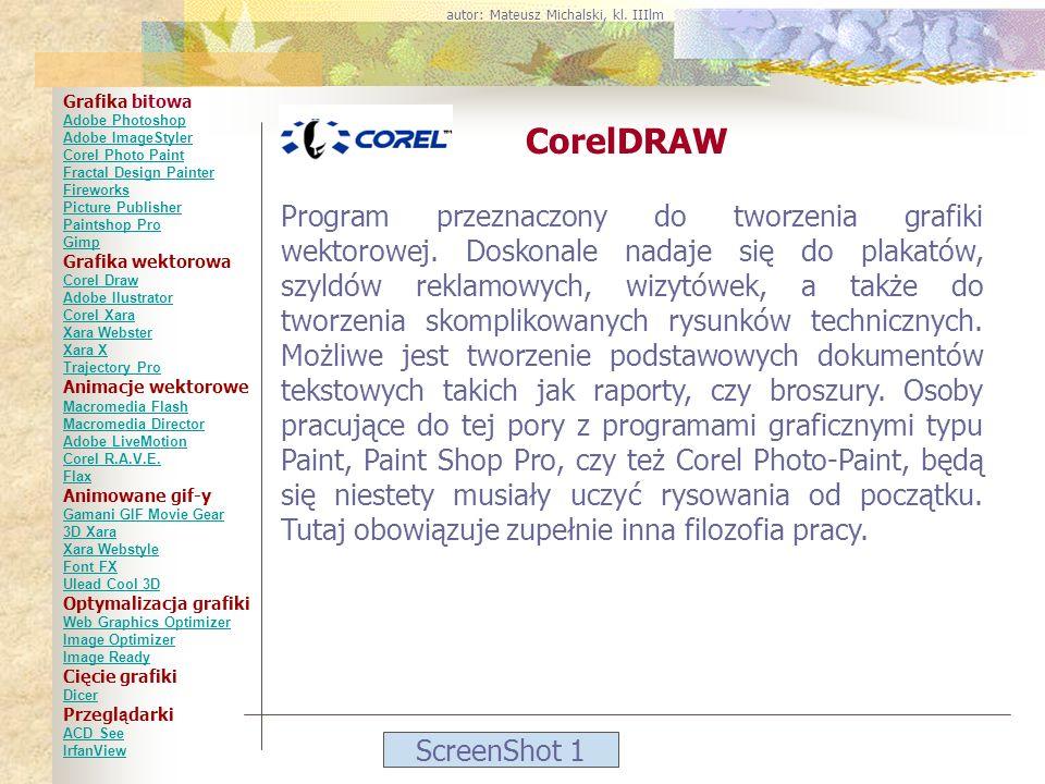 ScreenShot 1 CorelDRAW Program przeznaczony do tworzenia grafiki wektorowej. Doskonale nadaje się do plakatów, szyldów reklamowych, wizytówek, a także