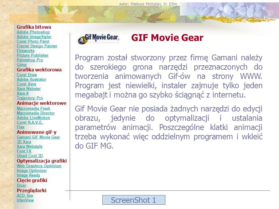 ScreenShot 1 GIF Movie Gear Program został stworzony przez firmę Gamani należy do szerokiego grona narzędzi przeznaczonych do tworzenia animowanych Gi