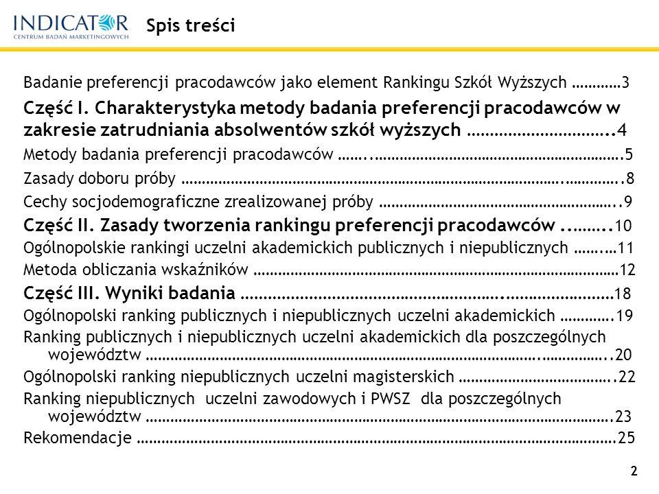 2 Spis treści Badanie preferencji pracodawców jako element Rankingu Szkół Wyższych …………3 Część I.