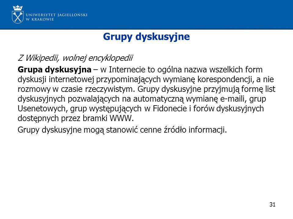 31 Grupy dyskusyjne Z Wikipedii, wolnej encyklopedii Grupa dyskusyjna – w Internecie to ogólna nazwa wszelkich form dyskusji internetowej przypominają