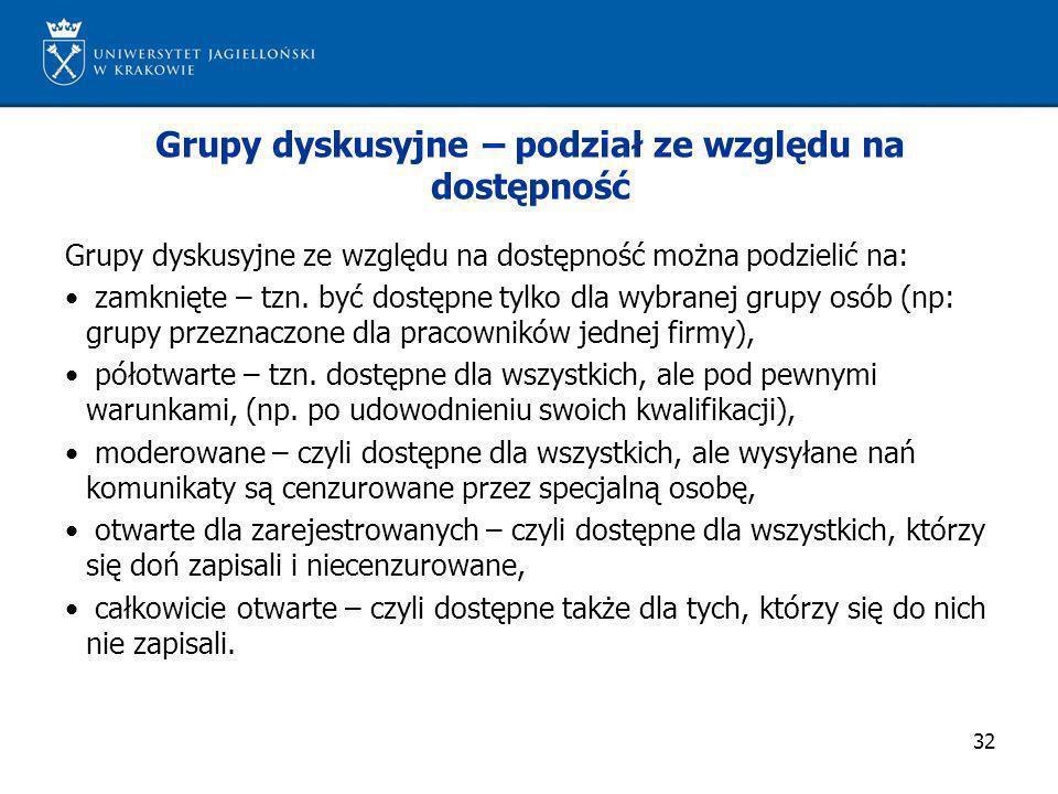 32 Grupy dyskusyjne – podział ze względu na dostępność Grupy dyskusyjne ze względu na dostępność można podzielić na: zamknięte – tzn. być dostępne tyl
