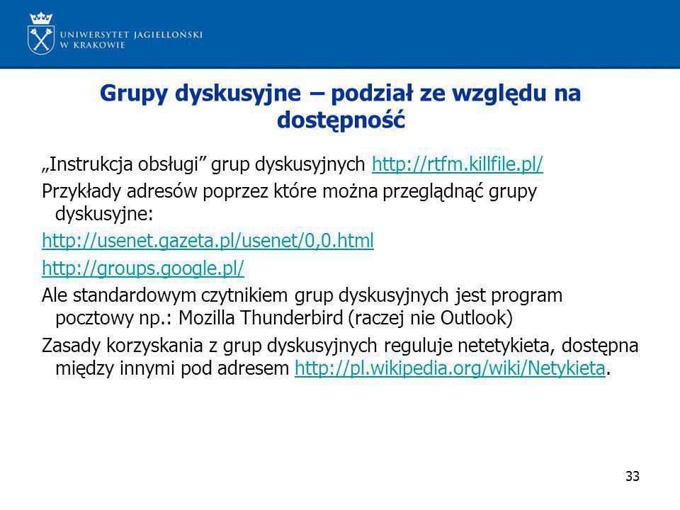 33 Grupy dyskusyjne – podział ze względu na dostępność Instrukcja obsługi grup dyskusyjnych http://rtfm.killfile.pl/http://rtfm.killfile.pl/ Przykłady