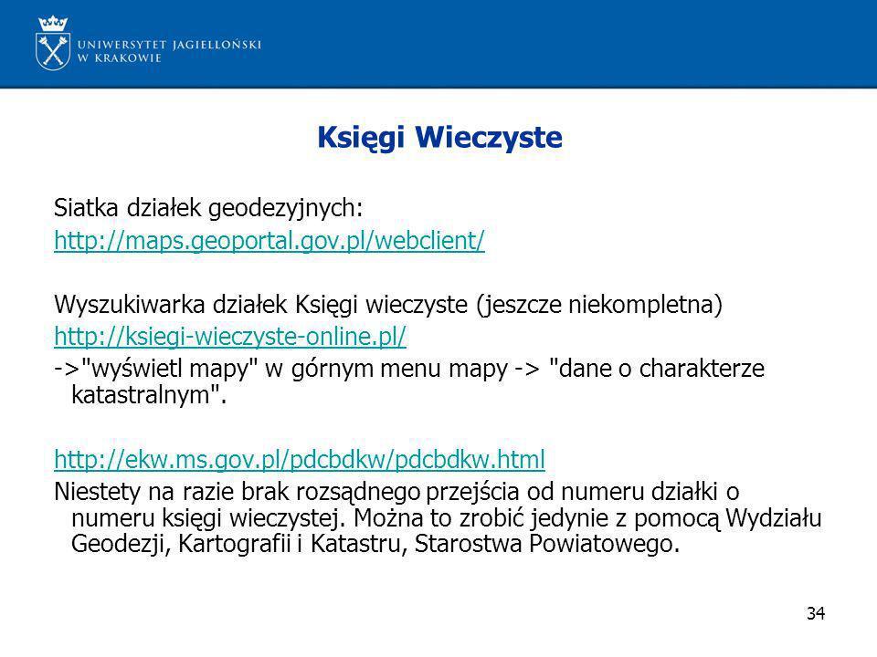 34 Księgi Wieczyste Siatka działek geodezyjnych: http://maps.geoportal.gov.pl/webclient/ Wyszukiwarka działek Księgi wieczyste (jeszcze niekompletna)