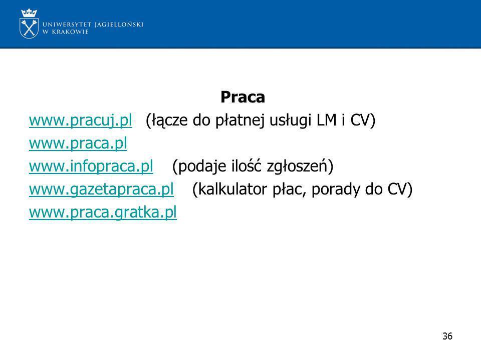 Praca www.pracuj.plwww.pracuj.pl (łącze do płatnej usługi LM i CV) www.praca.pl www.infopraca.plwww.infopraca.pl (podaje ilość zgłoszeń) www.gazetapra