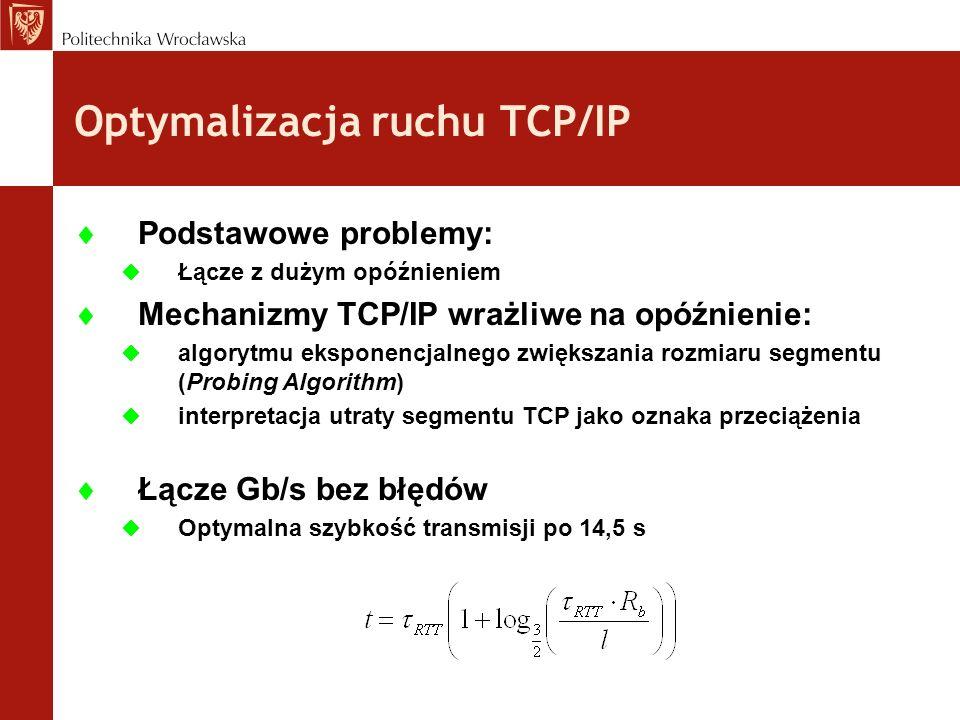 Optymalizacja ruchu TCP/IP Podstawowe problemy: Łącze z dużym opóźnieniem Mechanizmy TCP/IP wrażliwe na opóźnienie: algorytmu eksponencjalnego zwiększ