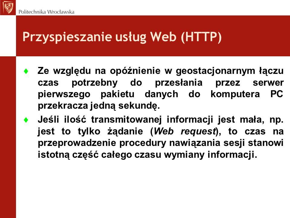Przyspieszanie usług Web (HTTP) Ze względu na opóźnienie w geostacjonarnym łączu czas potrzebny do przesłania przez serwer pierwszego pakietu danych d