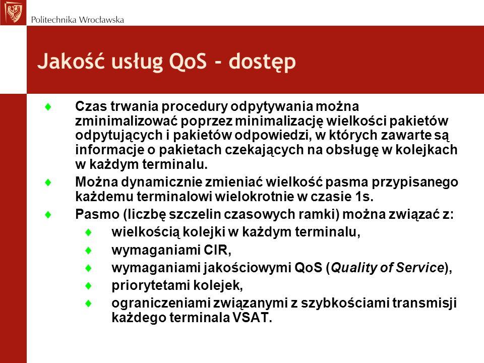 Jakość usług QoS - dostęp Czas trwania procedury odpytywania można zminimalizować poprzez minimalizację wielkości pakietów odpytujących i pakietów odp