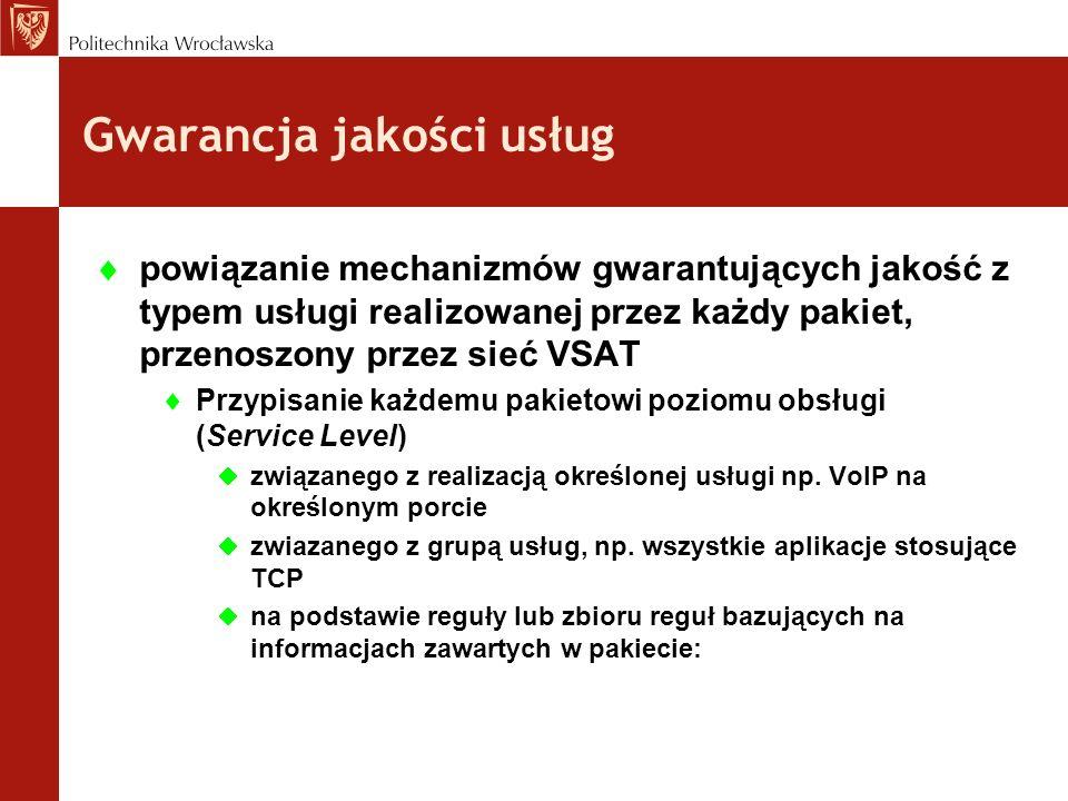 powiązanie mechanizmów gwarantujących jakość z typem usługi realizowanej przez każdy pakiet, przenoszony przez sieć VSAT Przypisanie każdemu pakietowi