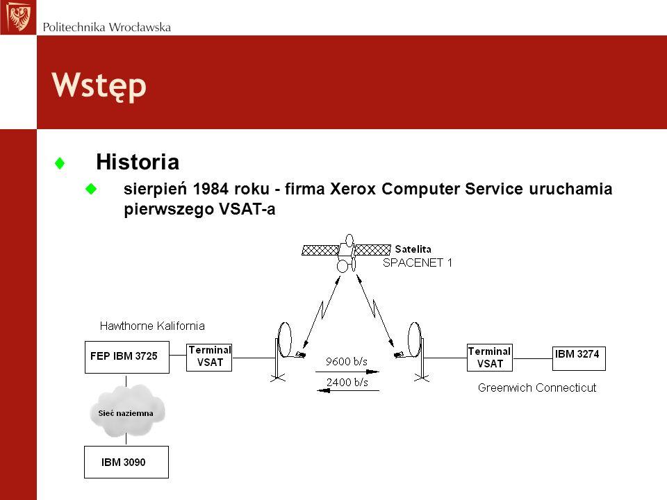 Wstęp Historia sierpień 1984 roku - firma Xerox Computer Service uruchamia pierwszego VSAT-a