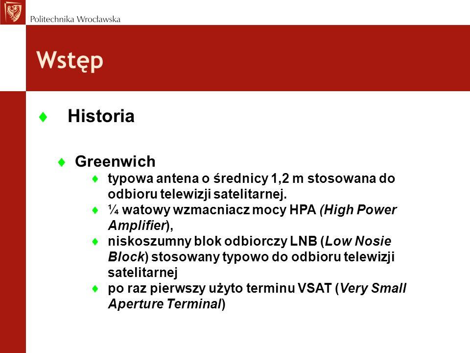 Wstęp Greenwich typowa antena o średnicy 1,2 m stosowana do odbioru telewizji satelitarnej. ¼ watowy wzmacniacz mocy HPA (High Power Amplifier), nisko