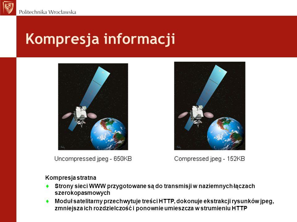 Kompresja informacji Kompresja stratna Strony sieci WWW przygotowane są do transmisji w naziemnych łączach szerokopasmowych Moduł satelitarny przechwy